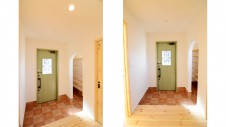 笛吹市 パイン無垢材の床の家 玄関1