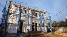山梨市 塗り壁とエイジング加工のかわいい家 上棟15