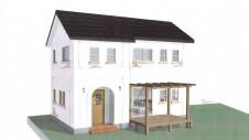 山梨市 塗り壁とエイジング加工のかわいい家 外観予想パース図