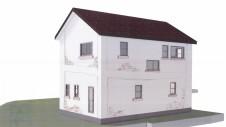 山梨市 塗り壁とエイジング加工のかわいい家 外観パース図