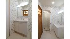 甲斐市 落ち着いた雰囲気の漆喰塗り壁のお家 洗面エリア