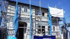 山梨市 塗り壁とエイジング加工のかわいい家 外装工事5