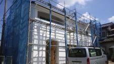 甲府市 漆喰塗り壁のかわいいお家 外装工事10