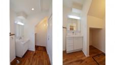 山梨市 塗り壁とエイジング加工のかわいい家 洗面台エリア