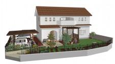 甲府市山宮に建つエイジング加工を施した大きなお家