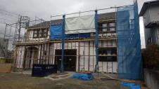 甲府市山宮に建つエイジング加工を施した大きなお家 外装工事3