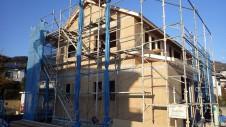 甲府市山宮に建つエイジング加工を施した大きなお家 上棟工事6