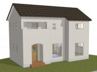 甲斐市龍地 漆喰仕上げのキュートなお家 完成予想図