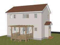 北杜市高根町 漆喰とウッドデッキのお家 完成予想図