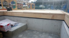 甲斐市 書斎からガレージが見えるインダストリアルデザインのお家 土台敷き2