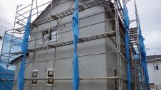 甲府市国母 漆喰と極厚フフローリングのカワイイお家 外装工事11