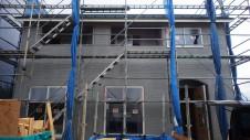 山梨市 大好きな自然素材の漆喰のこだわりのお家 外装工事14