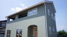 山梨市に建築中の大好きな自然素材の漆喰がこだわりのかわいい家 外装仕上げ2