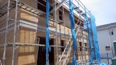 甲府市国母 漆喰と極厚フフローリングのカワイイお家 外装工事2