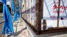 甲府市国母 漆喰と極厚フフローリングのカワイイお家 外装工事5