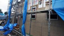 甲府市国母 漆喰と極厚フフローリングのカワイイお家 外装工事7