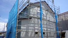甲府市国母 漆喰と極厚フフローリングのカワイイお家 外装工事9