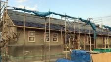 笛吹市に建つ広々フラットハウス 外装工事9