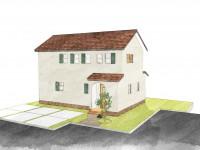 甲府市下今井町に建つ、漆喰塗り壁のかわいいお家