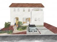 昭和町に建つ、漆喰塗り壁がナチュラルでかわいいお家